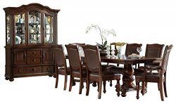 Licona Traditional 10PC Dining Set Double Pedestal Table, 2 Arm Chair, 6 Side Chair, Buffet & ...