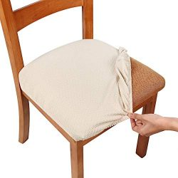 Smiry Stretch Spandex Jacquard Dining Room Chair Seat Covers, Removable Washable Anti-Dust Dinni ...