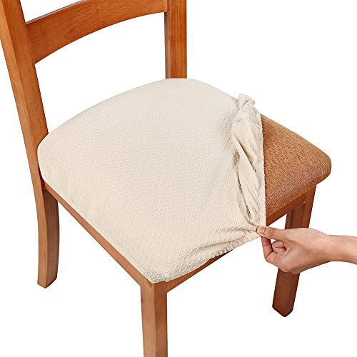 How To Make Dining Room Chair Cushions: Smiry Stretch Spandex Jacquard Dining Room Chair Seat Covers, Removable Washable Anti-Dust