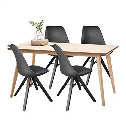 Polorim Modern Dining Chairs Set of 4 Upholstered Side Chairs Wood Leg for Kitchen Office (Black)
