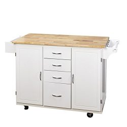 Target Marketing Systems Two-Toned Country Cottage Rolling Kitchen Cart with 4 Drawers, 2 Cabine ...