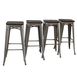 Buschman Set of Four Galvanized Wooden Seat 30 Inches Bar Height Tolix-Style Metal Bar Stools, I ...
