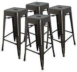 Hercke 30″ Stacking Metal Bar Stool (4 Pack) Steel – Gunmetal Gray – Kitchen I ...