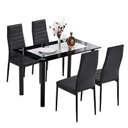 Trustiwood 5 Piece Kitchen Dining Table Set Modern Glass Dinette Set Dining Set w/ 4 PU Faux Lea ...