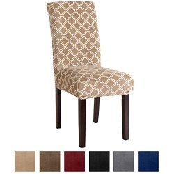 Printed Velvet Plush Dining Room Chair Slipcover. Super Stretch Fit, Removable and Washable Prot ...
