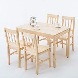 Mecor 5 Piece Kitchen Dining Table Set, 4 Wood Chairs Dinette Table Kitchen Room Furniture(Burly ...
