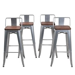 Changjie Furniture Low Back Metal Bar Stool for Indoor-Outdoor Kitchen Counter Bar Stools Set of ...