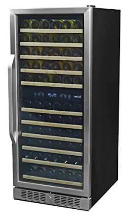 NewAir AWR-1160DB Premier Gold Series 116 Bottle Built-In Wine Cooler, Stainless Steel/Black