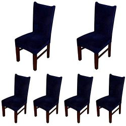 Smiry Velvet Stretch Dining Room Chair Covers Soft Removable Dining Chair Slipcovers Set of 6, N ...