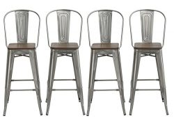 BTEXPERT 30″ Industrial Clear Metal Vintage Antique Style Distressed Brush Rustic Dining C ...