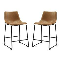 WE Furniture AZHL26WB Counter Stool Set, 26″, Whiskey Brown