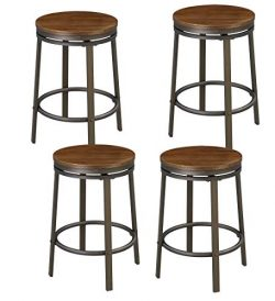 O&K Furniture 24-Inch Backless Swivel Bar Stool, Industrial Kitchen Counter Height Stool Ch ...