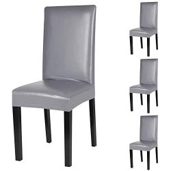 Fuloon Dining Chair Covers,Solid Pu Leather Waterproof and Oilproof Stretch Dining Chair Protcto ...