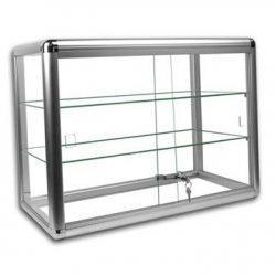 Only Hangers Elegant Silver Anodized Aluminum Display Table Top Tempered Glass Show Case. Slidin ...
