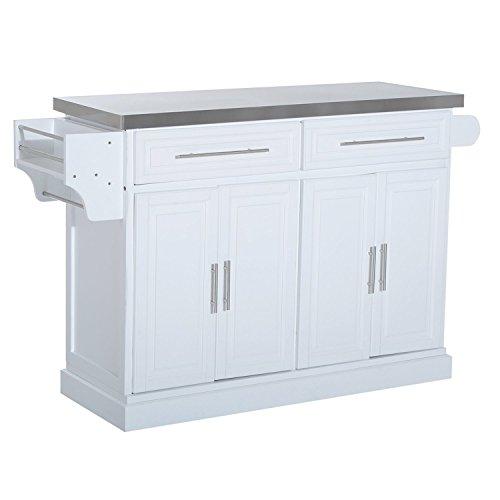 Mobile Kitchen Island Cart Wood Cabinet Storage Portable: HOMCOM Pine Wood Stainless Steel Multi-Storage Portable