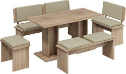 5 Pc Breakfast Kitchen Nook Table Set, Bench Seating, Oak with Beige