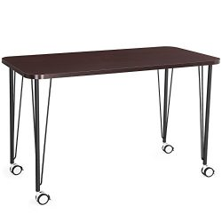 SONGMICS Computer desk, Study Table, Mobile Dining Table, Easy Assmblely, for Home and Office, C ...