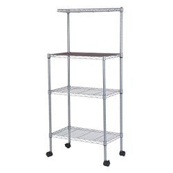 Chennly Microwave Oven Stand – 3-Tier Stainless Steel Workstation Shelf with Wheel, Remova ...