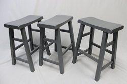 eHemco Set of 3 Heavy Duty Saddle Seat Bar Stools Counter Stools – 24″ Grey(Gray)