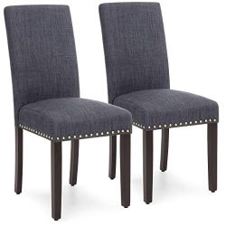 Best Choice Products Set of 2 Upholstered Fabric High Back Parsons Accent Dining Chairs for Dini ...