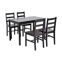HomCom 5 Piece Solid Pine Wood Table and Chairs Dining Set – Brown