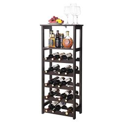 SONGMICS LWR03BR 20 Wooden Wine Rack, Free Standing Bottles Display Storage Shelf, with 2 Slatte ...