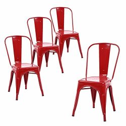 Buschman Set of Four Red Tolix-Style Metal Indoor/Outdoor Stackable Chairs with Back