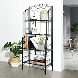 eHomeProducts 4-tier Metal Frame Baker Rack Kitchen Cabinet Bookcase Bookshelf Bedroom Scroll Design