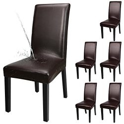 YISUN Dining Chair Covers, Solid Pu Leather Waterproof and Oilproof Stretch Dining Chair Protcto ...