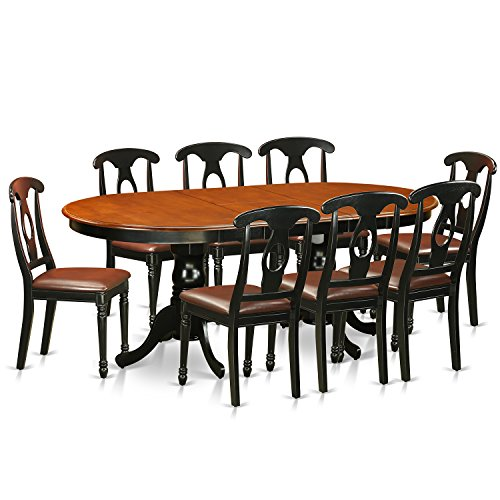 9 Piece Solid Wood Dining Set With Table And 8 Chairs: East West Furniture PLKE9-BCH-LC 9 Piece Dining Table With