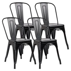 JUMMICO Metal Dining Chair Stackable Indoor-Outdoor Chairs Chic Bistro Cafe Side Chairs for Kitc ...