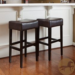 Christopher Knight Home 235134 Lopez Brown Leather Backless Bar Stools (Set of 2)