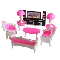 Dolls Accessories Pretend Play Furniture Set Toys for Barbie Dolls as Xmas Gifts for Kids Living ...