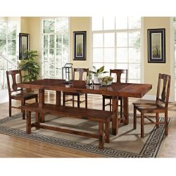 6-Piece Solid Wood Dining Set, Dark Oak