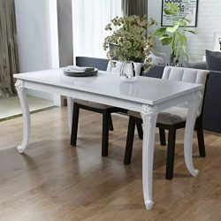 Dining Table 47.2″x27.6″x30″ High Gloss White Dining Table Dining Table Set Di ...