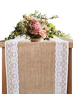 OZXCHIXU Burlap Lace Hessian Table Runner, Rustic Natural Jute Country Wedding Party Dining Tabl ...