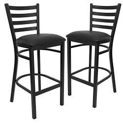 Flash Furniture 2 Pk. HERCULES Series Black Ladder Back Metal Restaurant Barstool – Black  ...