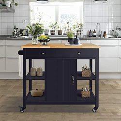 ChooChoo Kitchen Island Cart with Wood Top-Navy Blue