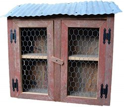 Amish Wares Barn Wood Chicken Coop Wall Storage Display Cabinet Made of Barnwood, Old Tin and Ch ...