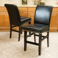 Christopher Knight Home 238540 Lisette Leather Counter Stool (Set of 2), Black