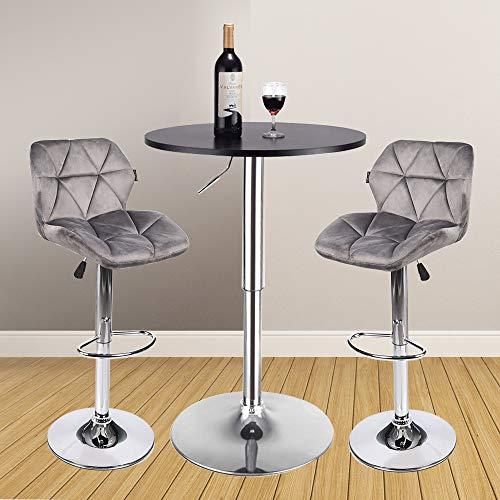 3 Adjustable Swivel Bar Stool Set Counter Height Kitchen: Adjustable Round Table Black