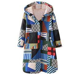 XOWRTE Womens Coat Winter Warm Floral Print Vintage Oversize Hooded Pockets Jacket Overcoat Outwear