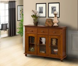 Pilaster Designs – Wood Console Sideboard Buffet Table With Storage And Glass Doors – ...