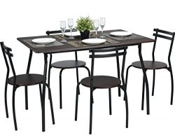 Coavas 5pcs Dining Table Set Brown Kitchen Furniture Rectangle Dining Table with 4 Round Dining  ...