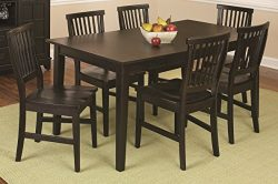 Home Style  Arts and Crafts 7-Piece Rectangular Dining Set, Black Finish