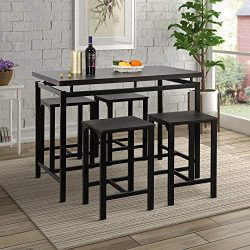 Harper&Bright Designs 5-Piece Counter Height Table Set/Dining Room Table with 4 Stools (Espr ...