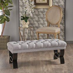 "Christopher Knight Home 299602 Living Reddington Light Grey Tufted Fabric Ottoman Bench, 17.25""D ..."