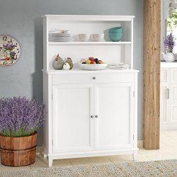 Modern Sideboard Buffet With Hutch – Kitchen Storage Cabinet – White Finish Utility  ...