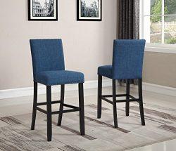 Roundhill Furniture PC164BU Biony Fabric Bar Stools with Nailhead Trim (Set of 2), Blue