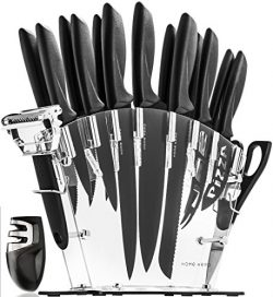 Stainless Steel Knife Set with Block – 13 Kitchen Knives Set Chef Knife Set with Knife Sha ...